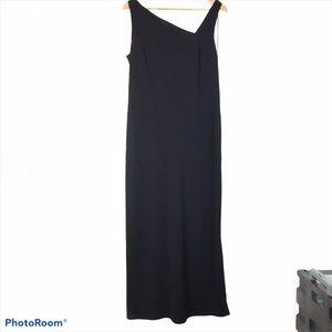 sleeveless dress w asymmetrical neck